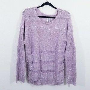 Guess Purple Crewneck Sparkly Sweater Size M